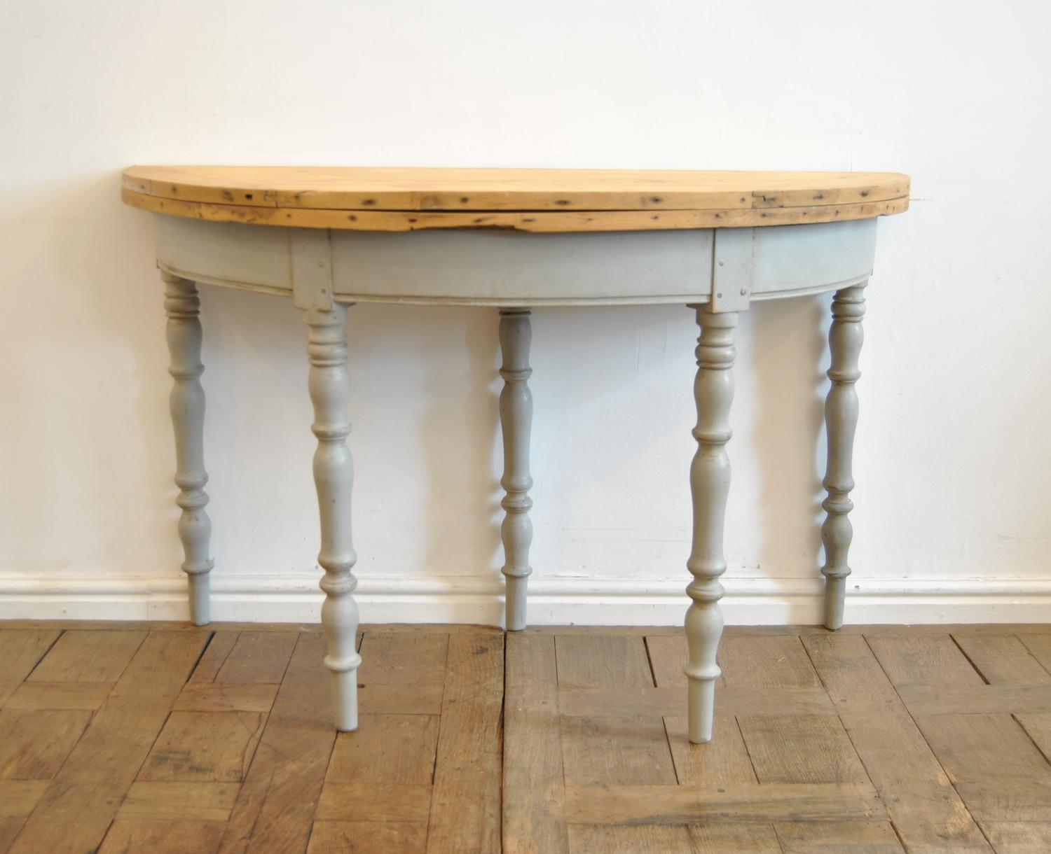 French Demi Lune Folding Pine Table