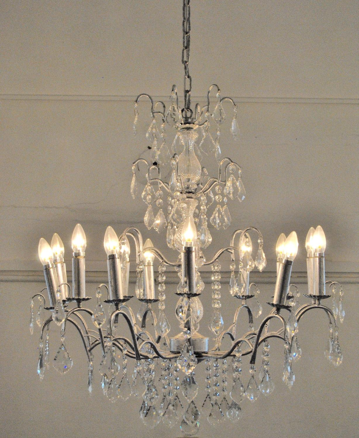 12 Branch Antique Silver Leaf Glass Chandelier