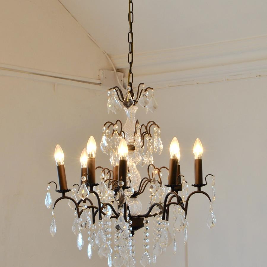 8 Branch Antique Bronze Glass Chandelier