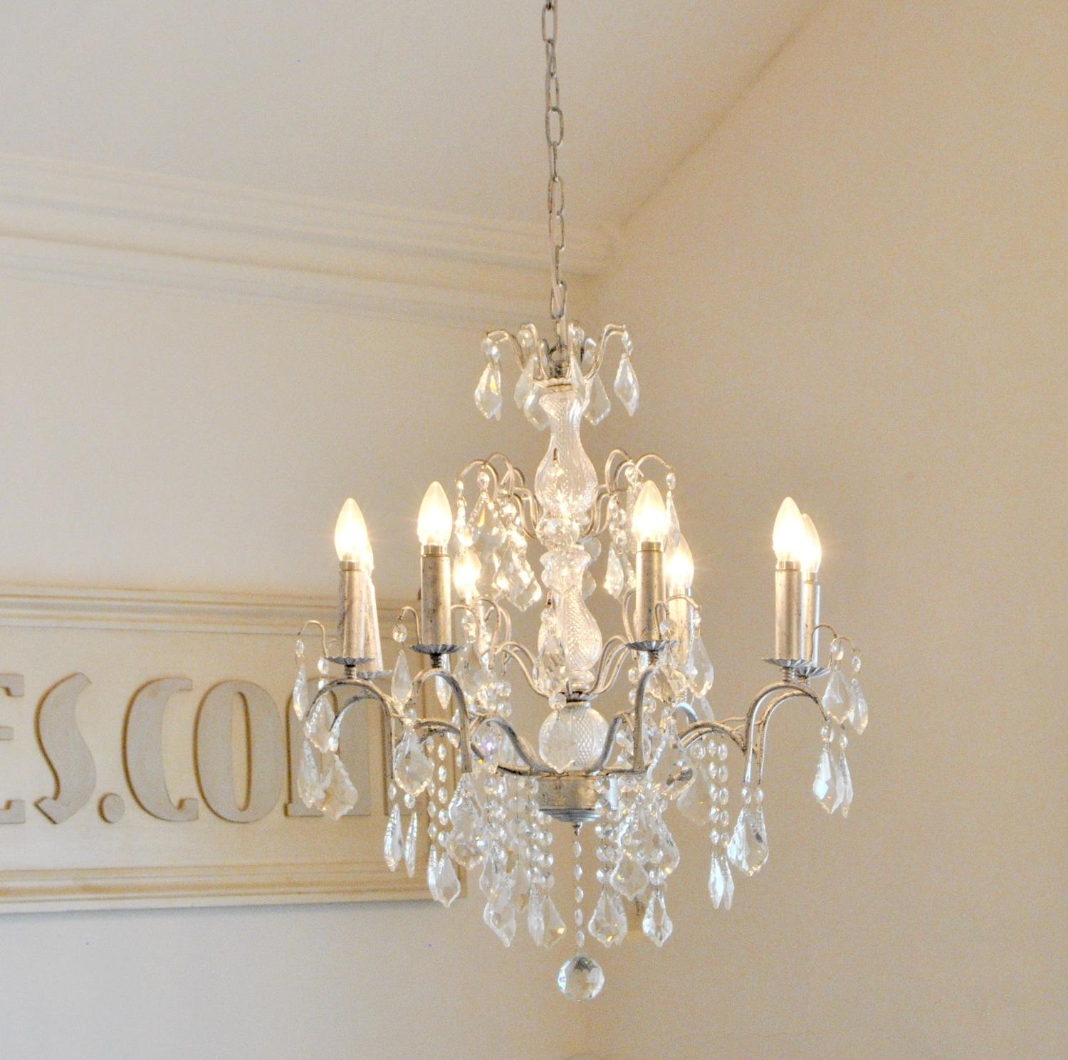 8 Branch Large Antique Silver Leaf Glass Chandelier