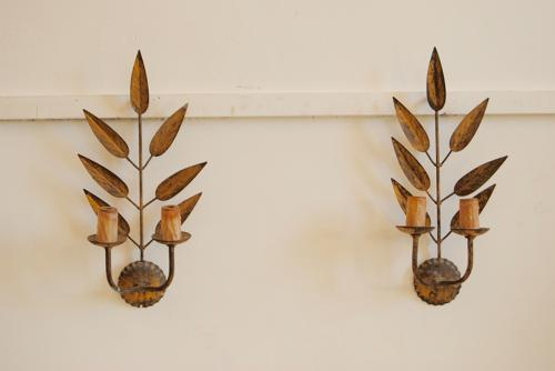 Pair of French Gilded Wall Lights