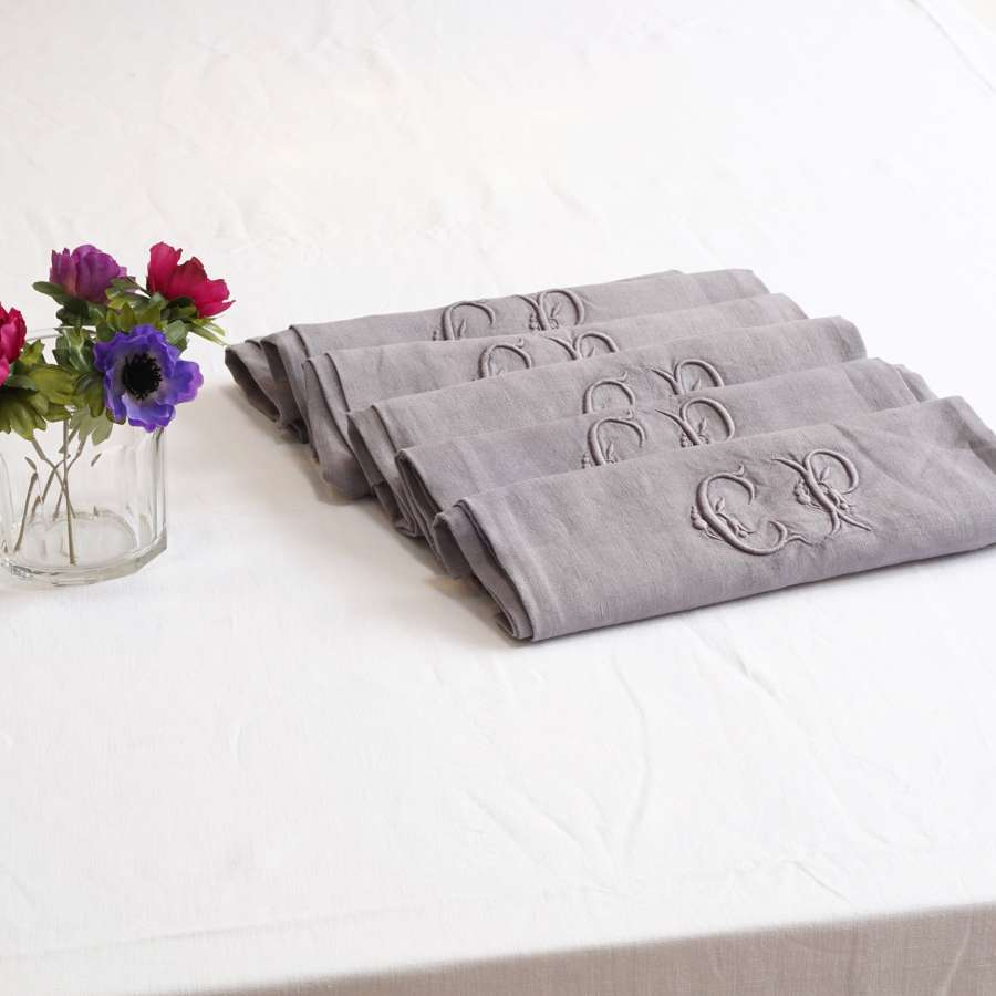 6 Antique French linen napkins