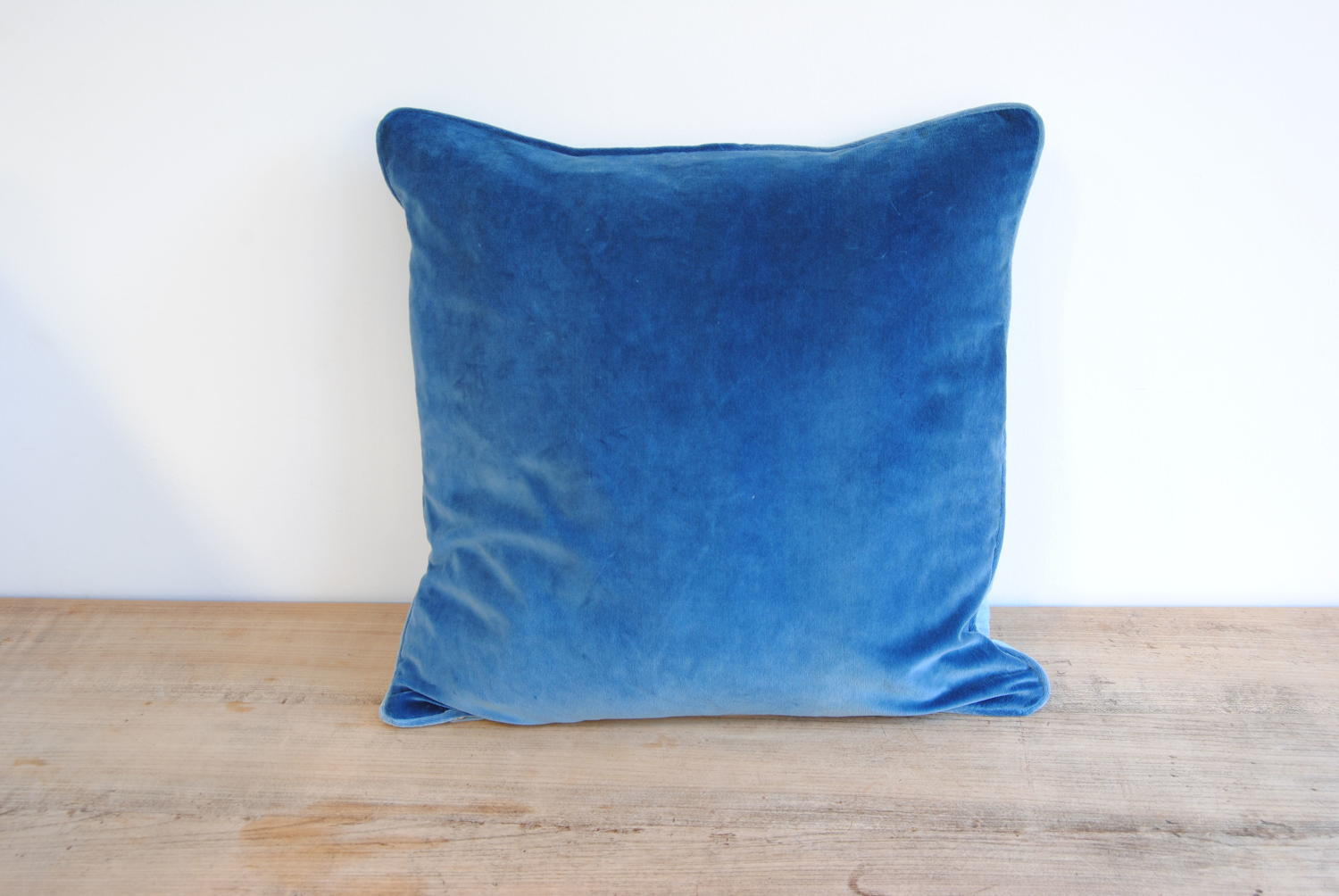 Cushions in vintage blue velvet