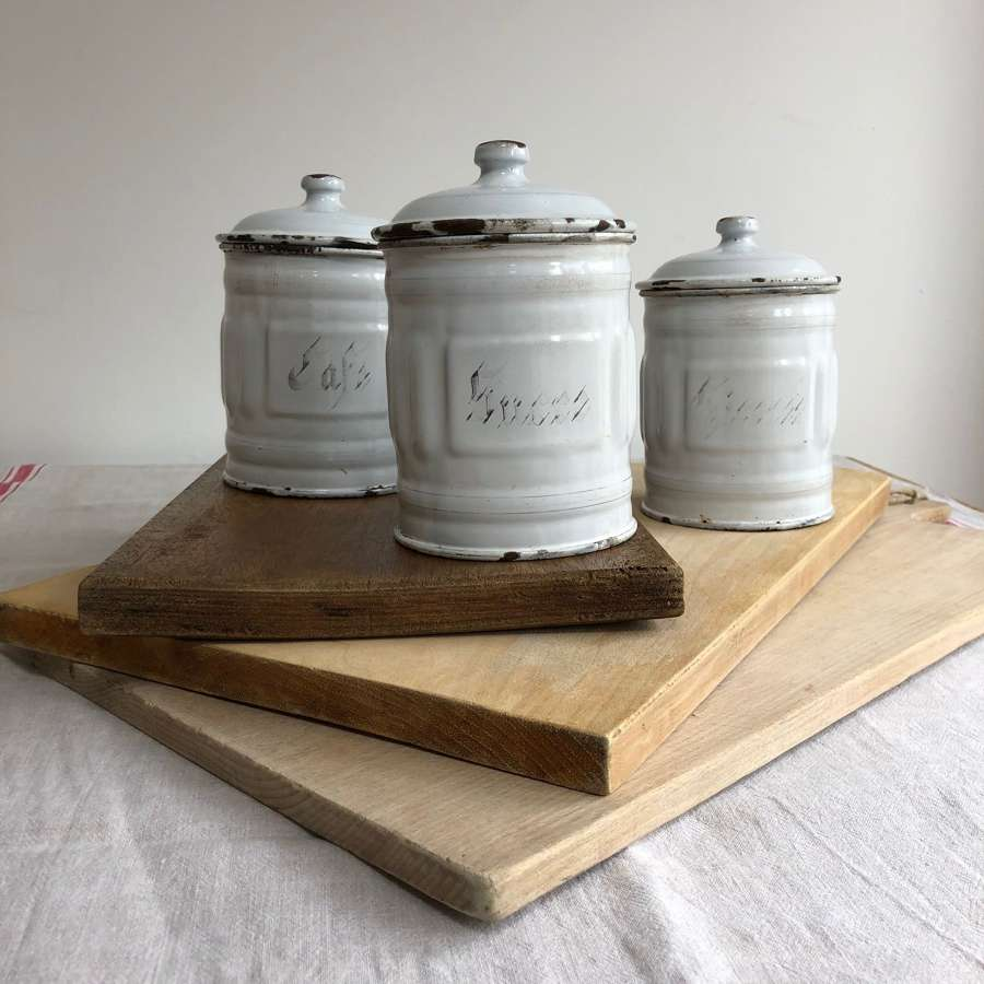 French enamel storage containers