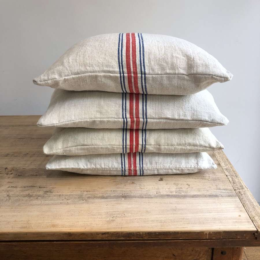 Grain sack cushions