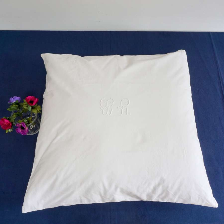 Large French Antique Cushion with Monogram