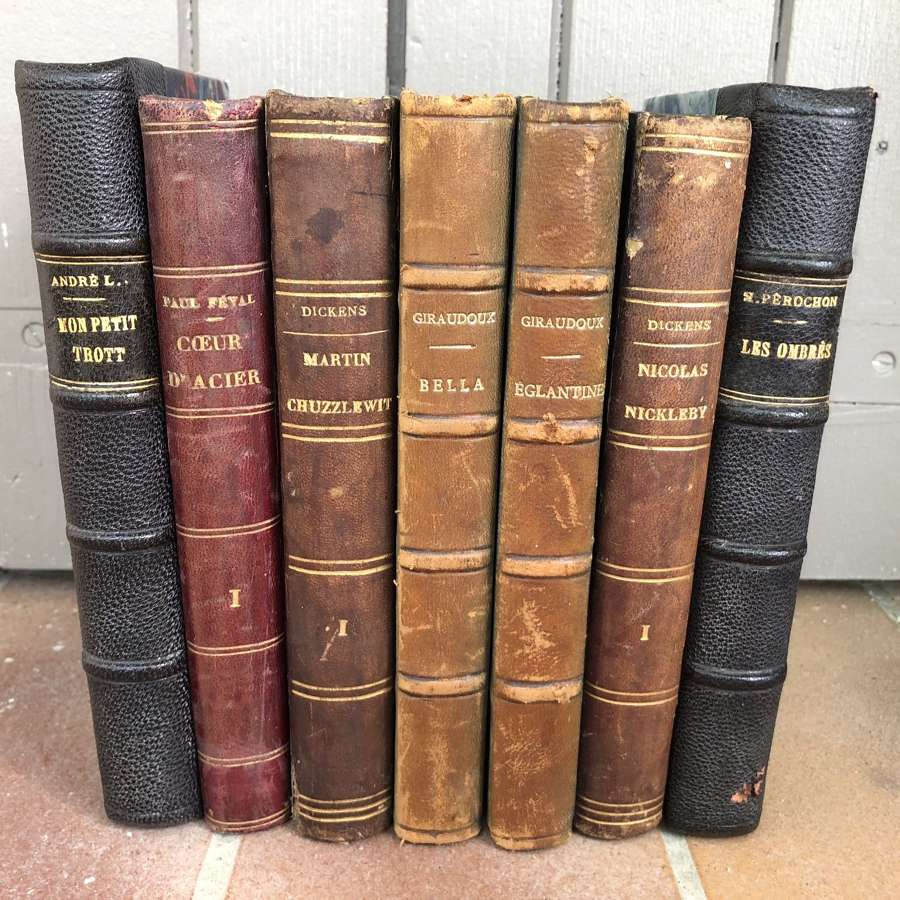 French leather bound books