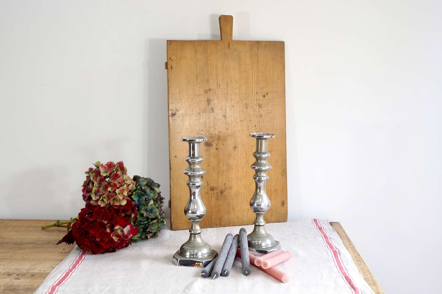 Large Crome Candlesticks