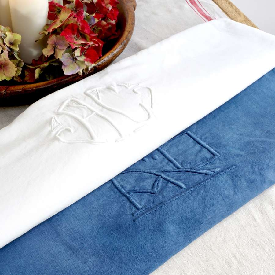 French Linen - Blue Monogram