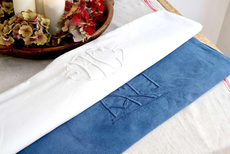 French Linen - Blue Monogram