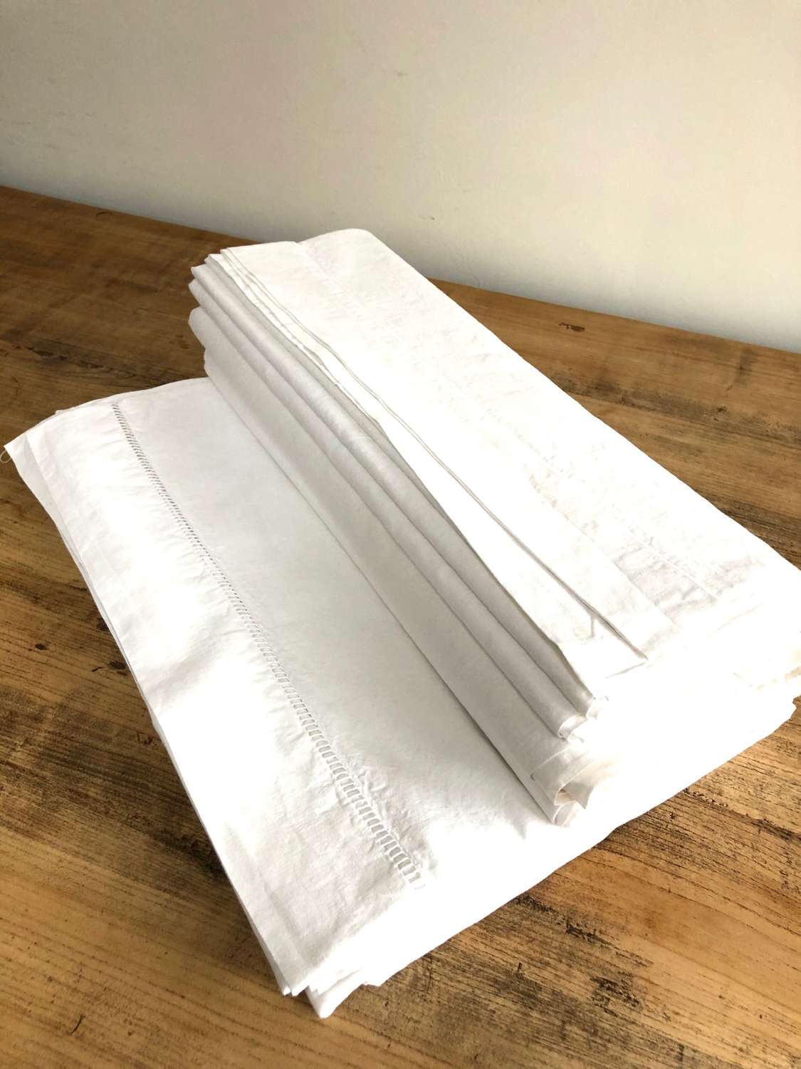 French Linen - White Plain Sheets With Drawn Thread Head
