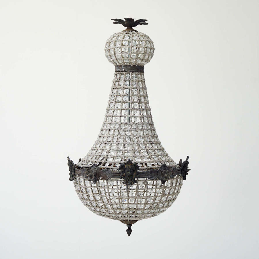 Large French Empire Style Chandelier - Antiqued Metal